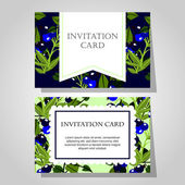 Invitations with floral background — ストックベクタ