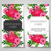 Invitations with floral background — Vector de stock