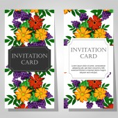 Invitations with floral background — Wektor stockowy