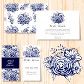 Wedding invitation cards — Vetor de Stock