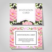 Convites com fundo floral — Vetor de Stock
