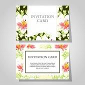 Invitations with floral background — Cтоковый вектор