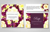 Invitations with floral background — 图库矢量图片