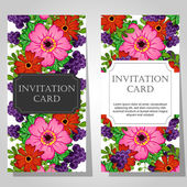 Invitations with floral background — Vecteur