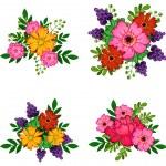 Flower bouquets set — Stock Vector #65507009
