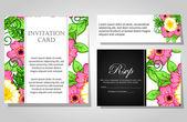 Uitnodigingen met bloemen achtergrond — Stockvector