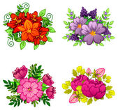Flower bouquets set — Stock vektor