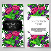 Invitations with floral background — Stok Vektör