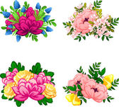 Flower bouquets set — Stock Vector