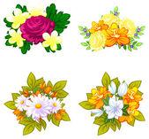 Flower bouquets set — Vetor de Stock