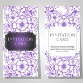 Set of floral invitations — Stock Vector