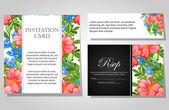 Invitaciones con fondo floral — Vector de stock