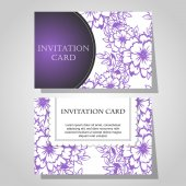 Set of floral invitations — 图库矢量图片