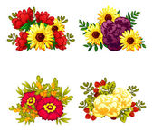 Set a bouquets of flowers — Stock Vector