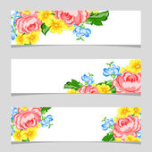 Three floral banners — Stock Vector