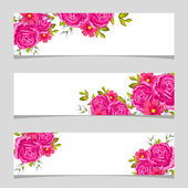 Three floral banners — Vector de stock