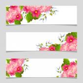 Tre banner floreale — Vettoriale Stock