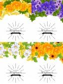Davetiyeli çiçek öğeleri — Stok Vektör