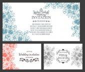 Cartão de convite com elementos florais — Vetor de Stock
