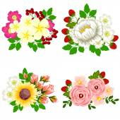 Flower bouquet set — Stock Vector