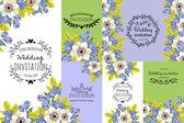 Προσκλητήριο με floral στοιχεία — Διανυσματικό Αρχείο