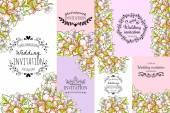 花の要素との招待カード — ストックベクタ