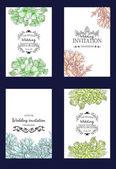 Пригласительная открытка с цветочными элементами — Cтоковый вектор