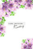 Karta zaproszenie z kwiatowymi elementami — Wektor stockowy