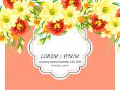 Invitation card with floral elements — Stock Vector