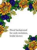 Düğün için çiçek ile hassas davet — Stok Vektör