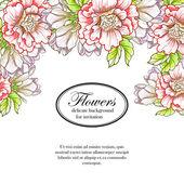 Delicato invito con fiori per matrimonio — Vettoriale Stock
