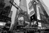 Night traffic in New York City Midtown Manhattan — Stok fotoğraf