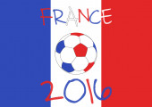 France 2016 Football poster. France flag background, typographic design. — Stock Vector