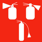 Set of Fire extinguishers isolated icons. Emergency icons. — Stock Vector