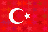 Turkey flag on unusual red stars background. Original proportions and high quality. Vector — Stock Vector