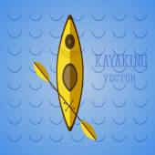 Canoe icon vector. Kayak on blue waves. Summer icon and badge. Camping illustration   — Stock Vector
