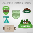 Set of outdoor adventure badges and campsite logo emblems. Summer 2015 stickers. — Stock Vector #62035759