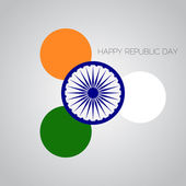 Creative Illustration for Indian Rebuplic Day with tricolors and ashoka wheel. — Stock Vector