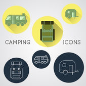 Set of outdoor adventure icons, badges and campsite logo emblems. Summer 2015 stickers. — Stock Vector
