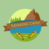 Kayaking camp logo. Expedition label and sticker. Unusual design. Summer outdoor adventures. Colorful — Stock Vector