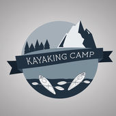 Kayaking camp logo. Expedition label and sticker. Unusual design. Summer outdoor adventures. — Stock Vector