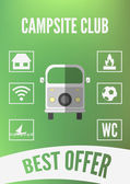 Campsite club promotion infographic with retro car and white icons. Flat design — Stock Vector