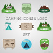 Set of outdoor adventure badges and campsite logo emblems. Summer 2015 stickers. — Stock Vector #63858281