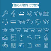 Set of On-Line Shopping icons. Outline. Can be use as elements in infographics, as web and mobile icons etc. Easy to recolor and resize. — Stock Vector