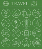 Outlined Holidays and Travels Icon Set Collection. Thin Line design. Camping and travel symbols and elements. — Stock Vector