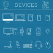 Trendy PC, computer, mobile gadgets and device line icons, mono vector symbols and elements of technologies. Can be used as buttons, elements in infographics, icons, logo. Easy to recolor and resize — Stock Vector #68919111