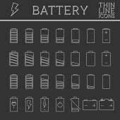Set of battery charge level indicators. Trendy thin line, outline design. Can be used as buttons, elements in infographics, icons, logo. — Stock Vector