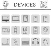 Trendy PC, computer, mobile gadgets and device line icons and buttons . Graphic vector symbols and elements of technologies. Can be used as buttons, elements in infographics, icons, logo. Easy to reco — Stock Vector