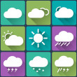 Flat design style weather icons set on multicolor buttons. Seasons theme, easy to use as icons, logo on web, mobile app, recolor and resize. — Stock Vector #69579321