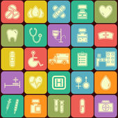 Set of flat Medical icons isolated on multicolor buttons. Unusual silhouette design — 图库矢量图片